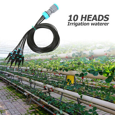 10 Heads Drip Irrigation Kit Adjustable Greenhouse Plant Watering System • 6.76£