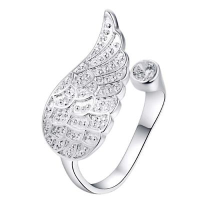 £4.99 • Buy Angel Wing Ring Silver Plated Adjustable Open Love Friendship Promise Feather UK