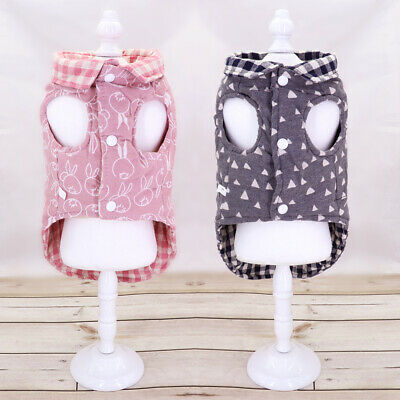 £5.69 • Buy Small Dog Coats For Winter Girl&Boy Plaid Warm Vest Chihuahua Clothes Jacket Pug