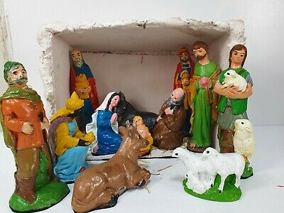 £34.99 • Buy Vintage Traditional Nativity Stable Scene Christmas Hand Painted Ceramic