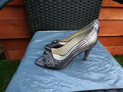 Worn Once Ladies Pewter/silver Leather Peeptoe Court Shoes By Lotus Size 6.5. • 7.99£
