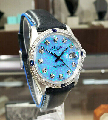 $ CDN6198.35 • Buy Mens Vintage ROLEX Oyster Perpetual Date 34mm BLUE OPAL Dial Diamond Stainless
