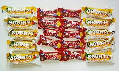 Bounty Mango Pineapple Twix Orange Mini Bars Rare Russian Limited 20 Bars Set • 10.13£