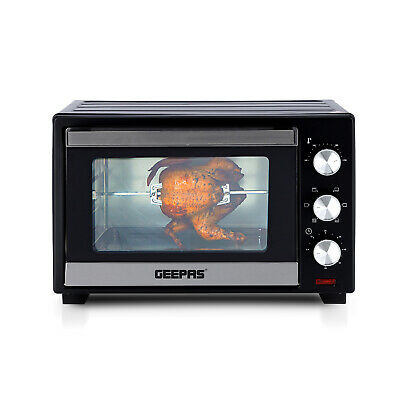 Geepas 30L Electric Mini Oven Grill Rotisserie Countertop Compact Cooker 1600W  • 69.99£