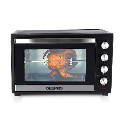 Geepas 48L Electric Mini Oven Grill Rotisserie Countertop Compact Cooker 2000W  • 89.99£