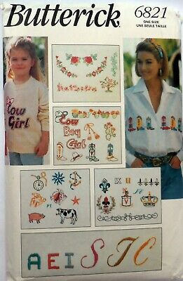 SEWING PATTERN - Embroidery Patterns, Letters, Animals, Flowers Etc - Vintage • 7£
