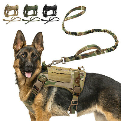 AU35.99 • Buy K9 Tactical Dog Harness With Leash Military Training Molle Vest Green Camo Black