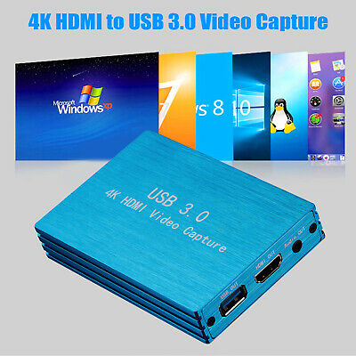 HDMI Video Capture Card 4K USB 3.0 For Video Recorder OBS Game Live Stream Blue • 46.69£