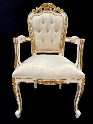 Ornate Franciscan Chair  White & Gold W Ivory Cream Fabric Dining Side Wedding  • 395£