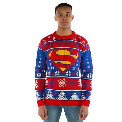 DC Comics Superman Red & Blue Knitted Christmas Jumper • 20£
