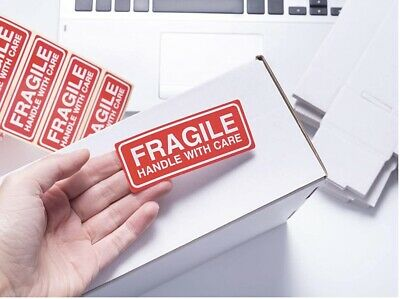 Fragile Parcel Labels (50) Postage Stickers - 90x35mm - Perm Self Adhesive • 2.95£