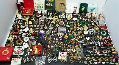 $ CDN220 • Buy HUGE Vintage & Mod Christmas Holiday Jewelry LOT Brooches Pins Earrings-206 Pcs