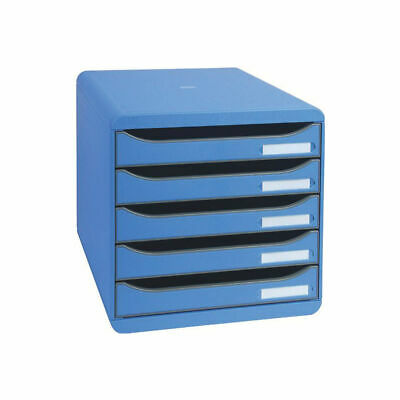 NEW! Exacompta Big Box Plus 5 Drawer Set Blue Comes With Label Holders And Inser • 98.45£