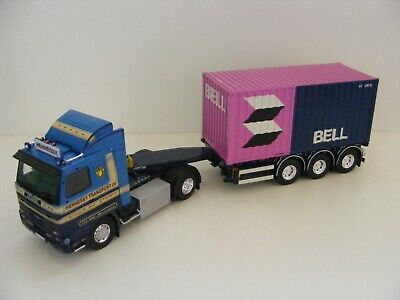 TEKNO 1/50th SCALE SCANIA STREAMLINE WITH CONTAINER & TRAILER HENNESSY TRANSPORT • 160£