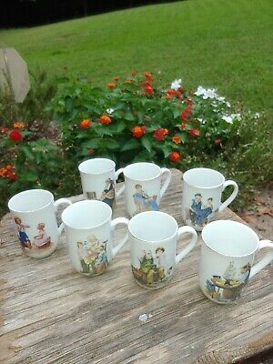 $ CDN40.08 • Buy Set Of 4 Norman Rockwell Museum Mugs Vintage 1982 Gold Trim - Never Used