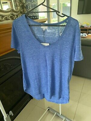 AU12.50 • Buy Witchery Blue Linen Tee Size XL BRAND NEW WITH TAGS