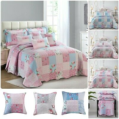 £29.99 • Buy 3 Piece Quilted Patchwork Bedspread Throw Single Double King & Super King Sizes