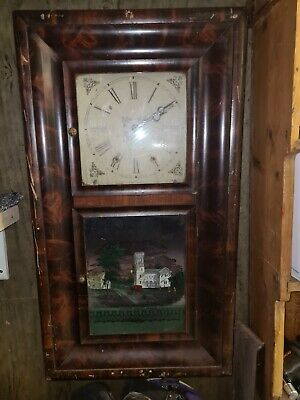Antique American Wall Clock Wait And Chime • 50£