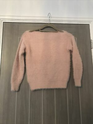 Girls NEWLOOK 9-15 Pink Fluffy Off The Shoulder Jumper-age 10-11 • 0.99£