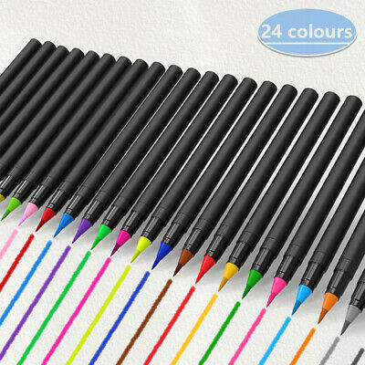 $24.69 • Buy 24 Colors Watercolor Brush Pens Nontoxic For Drawing Calligraphy Coloring, US