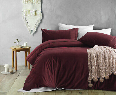 AU99.95 • Buy Dreamaker Ripple Poly Velvet Quilt Cover Set Queen Bed Red Wine