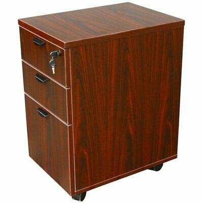$201.99 • Buy Boss Office 3 Drawer Wooden Mobile Pedestal File Cabinet In Mahogany