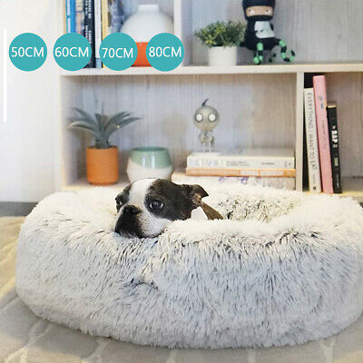 AU21.89 • Buy Pet Dog Cat Calming Bed Warm Soft Plush Round Nest Comfy Sleeping Kennel Cave AU