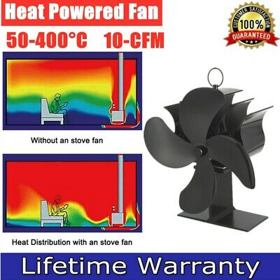 Heat Power Stove Top Fan For Wood Burner Log Burning Fire 4 Blades Eco-Friendly • 21.98£