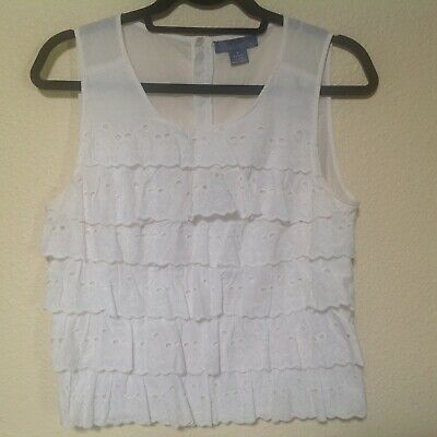 $ CDN29.07 • Buy Anthropologie Fleurette Size Small Eyelet Ruffled White Sleeveless Top Blouse