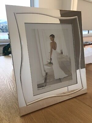 "Belleek Living Silverware 8"" X 10"" Photo Frame Silver Large Wedding Picture Gift • 15£"