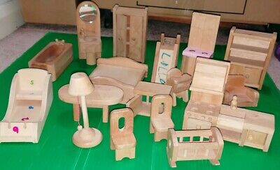 Vintage Dolls House Dol Toy Wooden Furniture Table Chairs Kitchen Bath Bed X17 • 9.99£