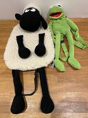 Vintage Shaun The Sheep Backpack And A Kermit Backpack • 20£