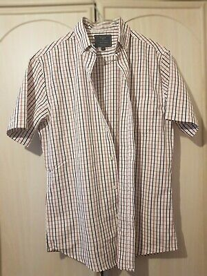 Mens  ATLANTIC BAY Short Sleeved Shirt Size Small Soft Touch Checked Like New • 4.99£