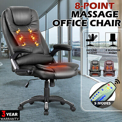AU149.90 • Buy Heated Massage Chair 8 Point Office Executive Computer Racer Seat PU Black/Brown