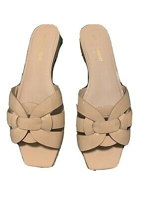 AU550 • Buy YSL Nude Patent Leather Tribute Slides Sz 38.5 Comes With Receipt, Box, Dustbag