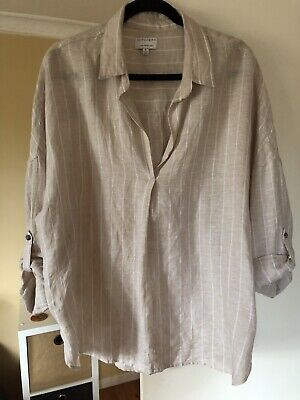 AU29 • Buy Witchery Beige And White Organic Linen Top, Size 16 **Excellent Cond**