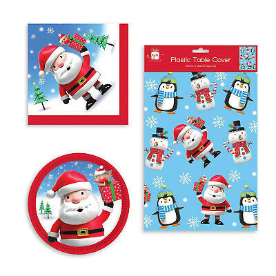 £2.99 • Buy Christmas Festive Party Tableware Paper Plates Napkins Plastic Table Cover