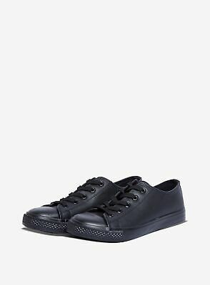 Dorothy Perkins Womens Wide Fit Black Pu Icon Fashion Casual Trainers Shoes • 4.50£