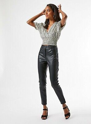Dorothy Perkins Womens Petite Black Skinny Faux Leather PU Jeans Trousers • 14.99£
