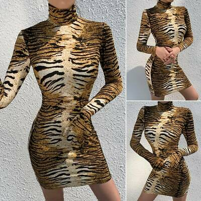 Womens Tiger Print Costume Bodycon Dress High Neck Long Sleeve Clubwear + Gloves • 9.49£
