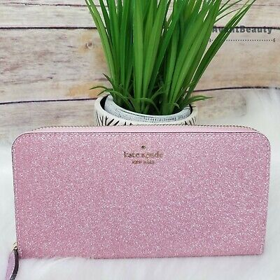 $ CDN103.42 • Buy New Kate Spade Lola Glitter Large Continental Zip Wallet Rose Pink Holiday NWT
