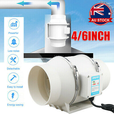 AU53.09 • Buy Low Noise 4/6 Inline Duct Fan Hydroponic Extractor Fan Vent Exhaust Air Blower +