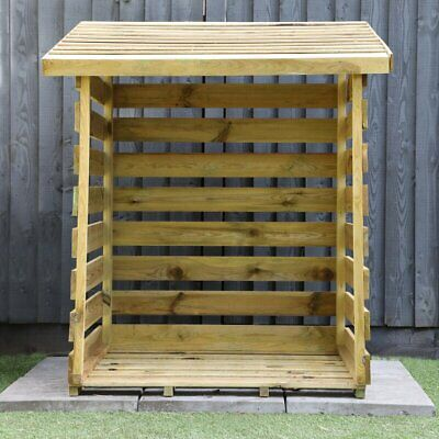 Wooden Log Store Wood Firewood Outdoor Garden Storage Logs Shed • 79.99£