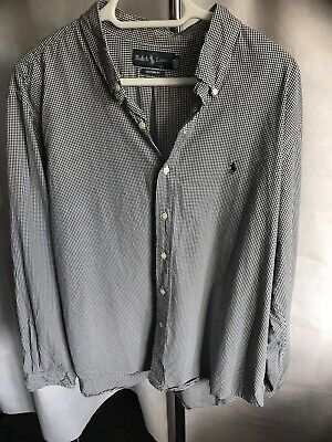 Ralph Lauren Polo Navy Gingham Check Long Sleeved Shirt Size XXL  ( W465 ) • 15£
