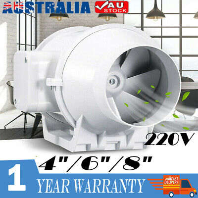 AU48.99 • Buy 4/6/8 Inch Extractor Fan Silent Duct Hydroponic Inline Exhaust Industrial Vent