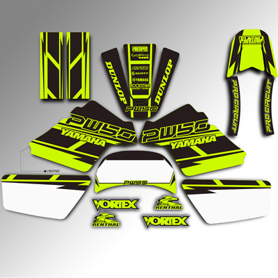 $ CDN60.47 • Buy 1990 - 2018 Yamaha Pw 50 Pw50 Motocross Graphics Kit Mx Decals Toxic Green Deco