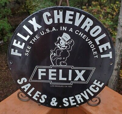 $ CDN13.35 • Buy Vintage Porcelain Felix Chevrolet Gas And Oil Sign