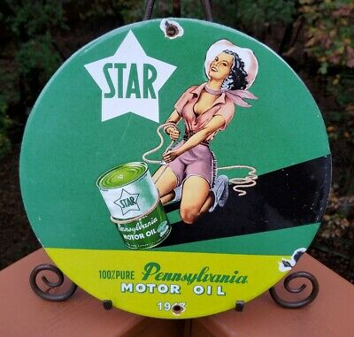 $ CDN13.35 • Buy Vintage Porcelain Star Pennsylvania Oil Gas And Oil Sign