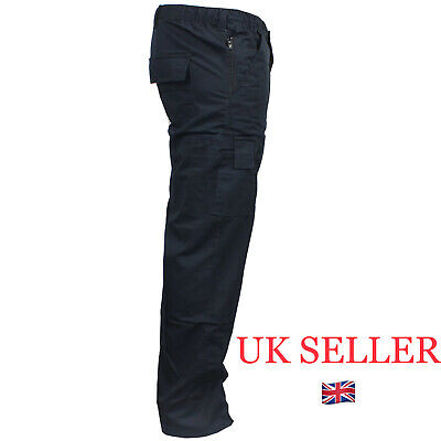 £13.10 • Buy Mens Cargo Work TROUSERS Combat Size 32 To 44 In BLACK Or NAVY Chino Work Pants