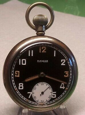 WWII DAMAS Bravingtons G.S.T.P. 15 JEWEL SWISS POCKET WATCH FULLY SERVICED. • 88£